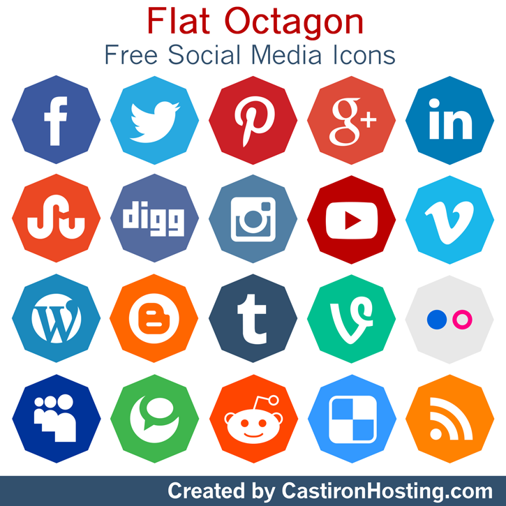 Flat Octagon Social Media Icons